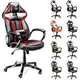 Diablo X-Gamer silla de oficino, silla de gaming, silla de escritorio (negro-rojo)