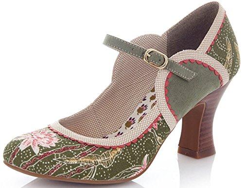 Ruby Shoo Damen Pumps Rosalind Floral Blüten Riemchen Schuhe Grün Geschlossen 39