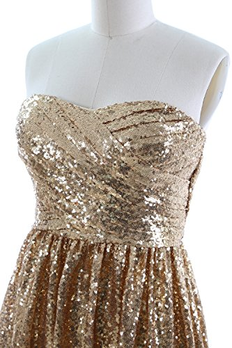 MACloth Women Strapless Sequin Long Bridesmaid Dress Formal Party Evening Gown Champagne