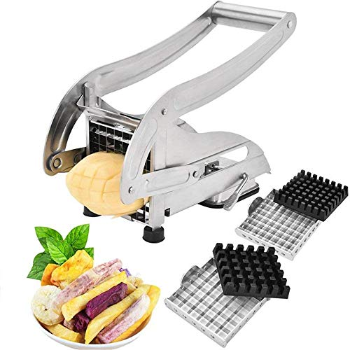 ZLJ Mandoline Slicer Cutter Obst- Und Gemüseschneider Pommes Frites Mit 2 Klingen Edelstahl Kartoffelschneider Kartoffelhacker Chopper (Cutter Obst Und Pommes)