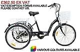 Jorvik 61cm Aluminium Erwachsene leicht Dreirad–verschiedene Farben erhältlich, Herren damen, schwarz, 61 cm (24 zoll)