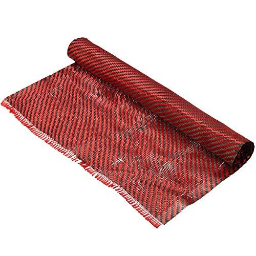 EsportsMJJ Carbon-Faser-Tuch Schwarz Rotem Gewebe Twill Weben Panel Blatt 200Gsm -