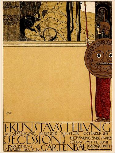 Posterlounge Alu Dibond 100 x 130 cm: Kunstausstellung Österreich von Gustav Klimt