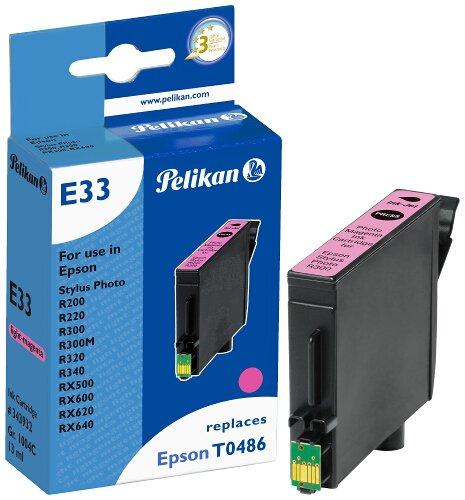 Pelikan 343932 – Cartucho de tinta Epson Stylus Photo R300, R200, 500, 600 – T0486 – Light Magenta