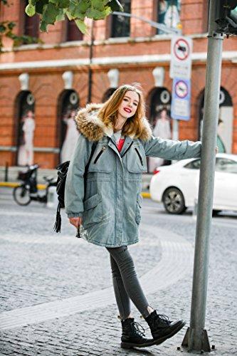 You.U Frauen neuer Art und Weise Denim Parkas beiläufiger Art-langer Jacken-Winter-Mantel Hellblau