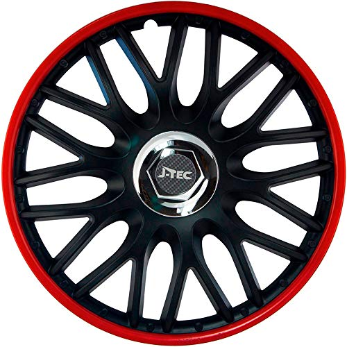 j-tec J Pack J14514 Hub Caps Orden Red Red/Black, 14 Inch