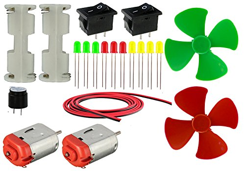 LOOSE PARTS MATERIALS SCIENCE PROJECT KIT 20 ITEMS BASIC MOTOR LED HOBBY KIT II 20 ITEMS IN 1 KIT (2 DCMOTOR + 2 BATTERY HOLDER + 2 SWITCH + BUZZER + 10 LEDS + 2 PROPELLER + WIRE)