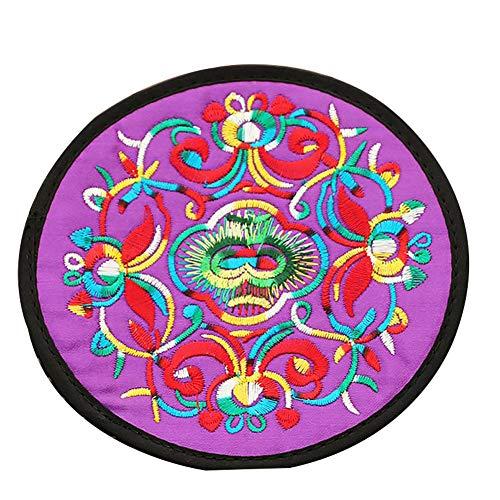 Man9Han1Qxi Runde ethnische Stil Stickerei wärmeisolierte Tabelle tischset Coaster teetasse pad Matte für bar, Restaurant, Hotel, Hause Purple