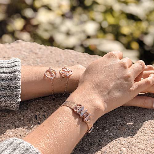 GD GOOD.designs EST. 2015 Buchstaben Charms Anhänger für Mesh Armband in Roségold oder Silber, Charmband für Damen