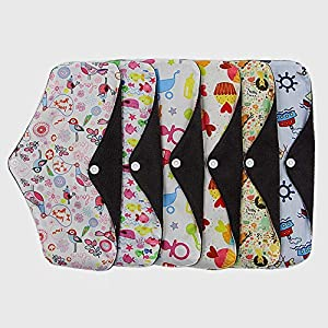 Bigherdez Bamboo Charcoal Postnatal Breathable Pad Sanitary Napkin Reusable Washable Bamboo Fiber Cloth Menstrual Period - 7