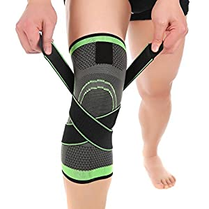 Knee Brace, Compression Knee Sleeve Wraps with Adjustable Strap for Pain Relief, Meniscus Tear, Arthritis, ACL, MCL, Quick Recovery - Knee Support for Running, Basketball, CrossFit by Vitoki (Single)