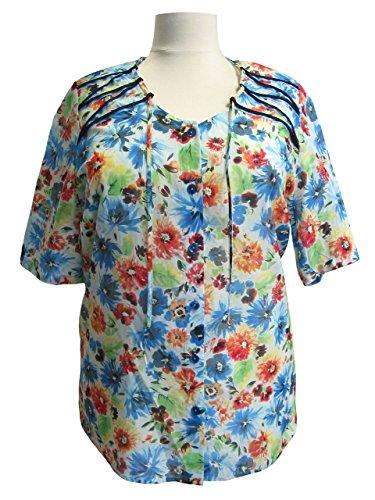 Bluse von Sempre Piu weiss-bleu-rot