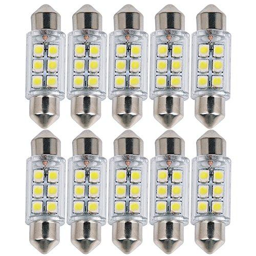 Preisvergleich Produktbild Raysen 10 x Auto 36mm C5W Soffitte Sofitte 6 SMD LED Innenraum Lampe Licht Birne Weiß