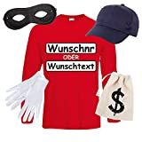Langarm T-Shirt SET PANZERKNACKER Kostüm Karneval Fasching Verkleidung Outfit SET16 T-Shirt/WN/Cap/Maske/Handschuhe/Beutel L