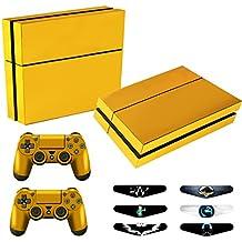 GameXcel ® PS4 Diseñador Pegatina protectora de la piel para Sony Playstation 4 consola del sistema más dos (2) Calcomanías Para: mando inalámbrico DUALSHOCK PS4 - Full Golden