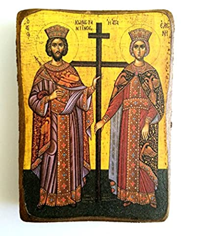 Wooden Greek Christian Orthodox Wood Icon of Saint Constantine and
