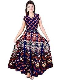 Silver Organisation Women's Cotton Long Dress (SON_567 _multicoloured_ Free Size)