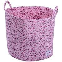 Minene 1530 - Cesta de tela, diseño flores, color rosa