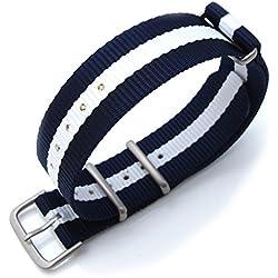 MiLTAT 20mm G10 NATO Watch Strap, Ballistic Nylon, Brushed - Blue & White