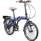 Galano 20 Zoll Park Lane Camping Klapp Fahrrad 6 Gang Shimano Licht (blau)