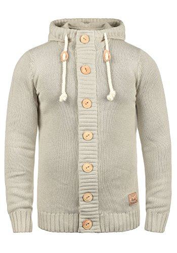 !Solid Peer Strickjacke Cardigan Grobstrick Mit Kapuze und Knopfleiste, Größe:M, Farbe:Oyster Grey (8215)