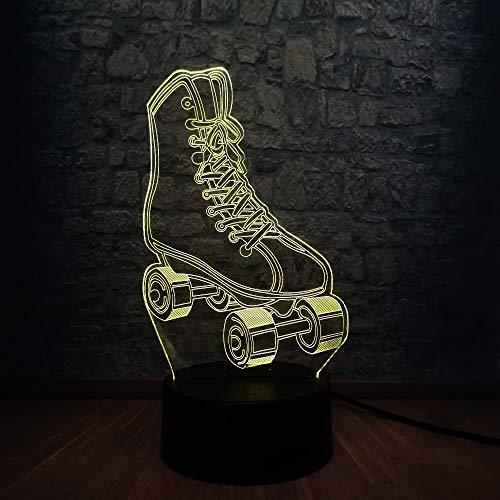 3D Rollschuhe Led Nachtlicht Für Kinder, Rollschuhe Spielzeug Licht, Variable Farbe Nacht Dekor Lampe Geeignet Für Schlafzimmer, Geburtstag, Wohnzimmer, Weihnachten