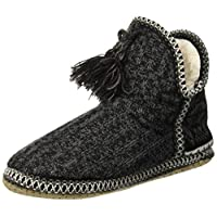 COFACE Ladies Womens Indoor Knitted Slipper Boots with Cosy Faux Fur Lined Non-Slip Sole,Black-37/38(Size: 4/5 UK)