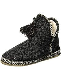COFACE acogedora cabaña para Mujer con pompón Calientes gestrickte Zapatillas Maletero TPR Plantillas innengefüllt Zapato en