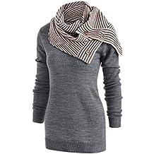 a9e6117a380 LONUPAZZ Sweatshirt Femmes Casual Boutons Rayures ÉCharpe Col Roulé Manches  Longues Pull Tricoté Manteau