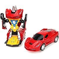 Ousdy FW-2031 Coche Robot Salvaobstaculo Transformable 2 en 1 / Luces / Música (Rojo)