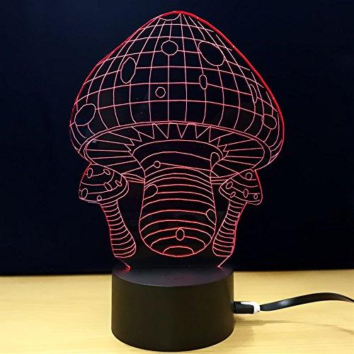 Tischlampe 3D Kreativität Pilz LED Leuchtende Nachtlicht Schlafzimmer Nachttischlampe Valentinstag Geschenk,Red