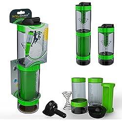 Intelishake - Multi-Compartimento Proteínas / Entrenamiento / Jugo Botella (2 x 500ml) agitadora con filtro de carbón para Deportes, Ejercicio y Gimnasio - saltamontes verde