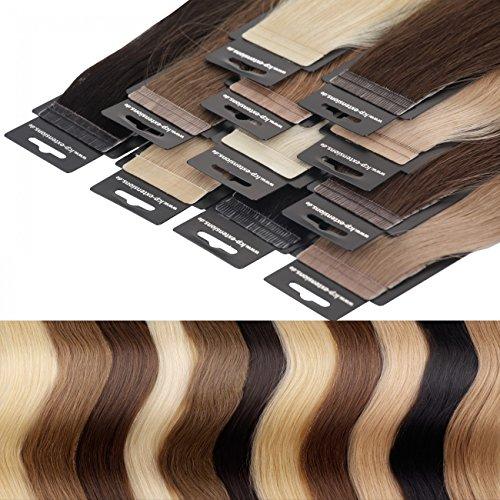 LCP Tape In Extensions Virgin Remy Echthaar 50 cm Länge Haarverlängerung 10 Tressen x 4 cm Breite - Farbe in Farbe silber grau (S)