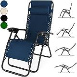 Deuba Liegestuhl verstellbar mit Kopfkissen Gartenhochlehner Hochlehner Gartenstuhl Gartenliege Liege Relaxliege - Farbe schwarz