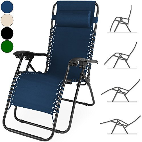 Liegestuhl verstellbar mit Kopfkissen Gartenhochlehner Hochlehner Gartenstuhl Gartenliege Liege Relaxliege - Farbe schwarz