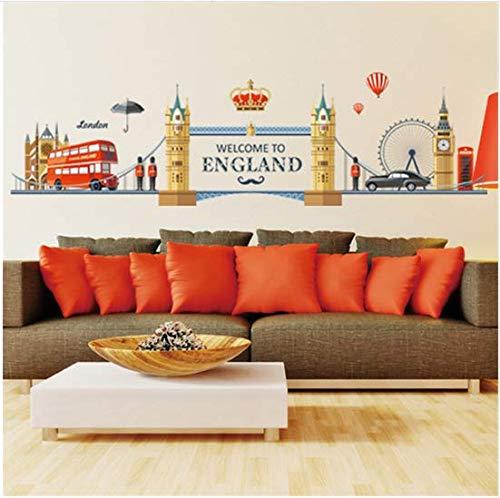 Newberli Europäischen England Stil Stadt Gebäude Big Ben Wandaufkleber Ich Liebe London Heißluftballon Bus Wohnzimmer Wandbild Entfernbaren Dekor
