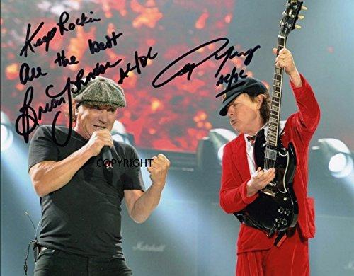 Kostüm Slade - THEPRINTSHOP Limited Edition Angus Young Brian Johnson ACDC Foto mit Autogramm und Zertifikat