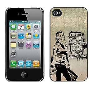 LASTONE PHONE CASE / Hart Hülle Tasche Schutzhülle Cover Shell Für Apple Iphone 4 / 4S / Greatness Motivational Quote Success Art Grafiti