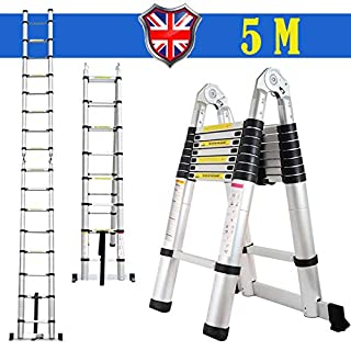 Autofather 5M Telescopic Ladder A Frame Folding Aluminium Extension Portable Ladder 16 Steps 330lbs Load Capacity Safe & Sturdy Lock System