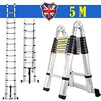 Escalera telescópica Autofaad, 5 m, Marco Plegable, alargador de Aluminio, Escalera portátil de 16 peldaños y Capacidad de Carga de 90 kg, Sistema de Bloqueo Seguro y Resistente