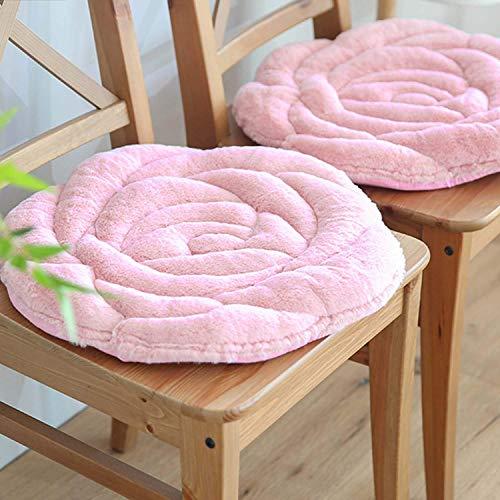 Verdicken Sie Weich Sitz Sitzkissen Gemütliche Warme Sitzpolster Komfort Rose Stuhlkissen 2 Satz Von Stuhlkissen Für Zuhause Office Sofa Auto Rollstuhl-rosa 45x45cm(18x18inch)