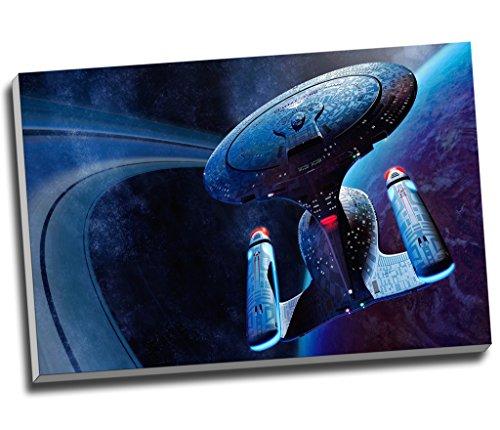 Star Trek StarShip Enterprise Film Wall Art Print auf Leinwand Bild Kunstdruck auf Leinwand groß A176,2x 50,8cm (76.2cm x 50.8cm)