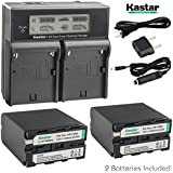 Kastar LCD Dual Fast Battery Chargers With NP-F990 7.2V 11600mAh Batteries (Pack Of 2) For Sony NP-F975 NP-F970 NP-F960 NP-F950 NP-F930 NP-F770 NP-F750 NP-F730 NP-F570 NP-F550 NP-F530 NP-F330