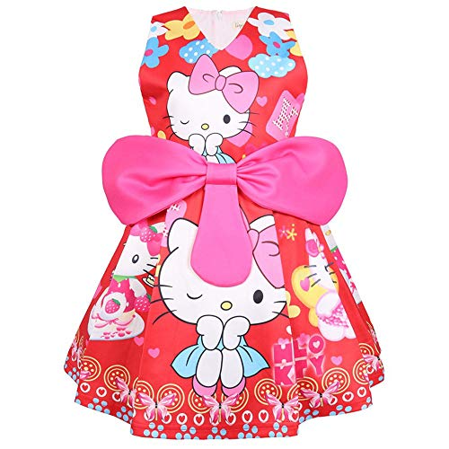 Hallo Kostüm Kinder Kitty - QYS Hallo Kitty Little Girls Geburtstag Bow Kleid,Red,110cm