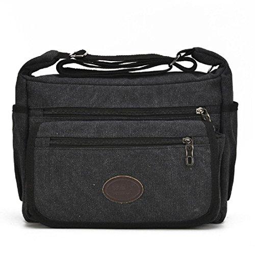 Koreanische Version Segeltuch Retro Kuriertasche Schultertaschen Freizeit Einfach Tasche Black