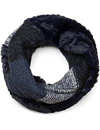 styleBREAKER écharpe snood à maille avec motif rayures effet vagues,  fourrure synthétique, écharpe en 69b451ac6f1