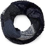 styleBREAKER écharpe snood à maille avec motif rayures effet vagues, fourrure synthétique, écharpe en maille, pour femmes 01018142, couleur:Bleu foncé-blanc