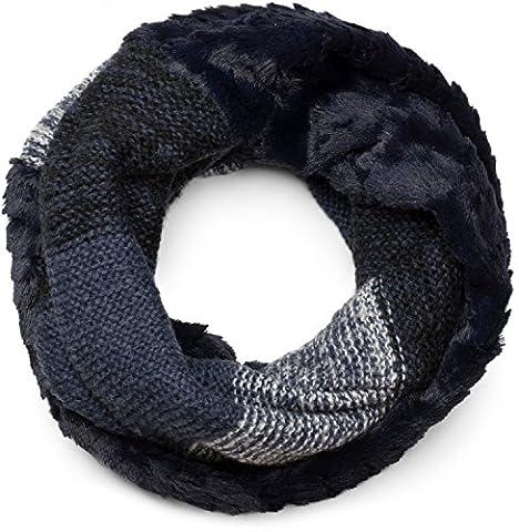 styleBREAKER Streifen Muster Wellen Strickloop Schal mit Kunstfelleinsatz, Strickschal, Damen