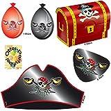 Roter Pirat Piraten-Set für 8 Kinder Hüte Augenklappen Schatztruhen Luftballons
