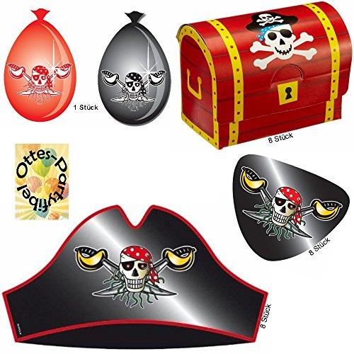Roter Pirat Piraten-Set für 8 Kinder Hüte Augenklappen Schatztruhen (Piraten Hut Rotes)